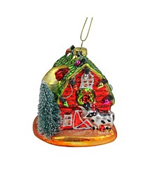 Festive and Barn with Roof Glass Christmas Ornament