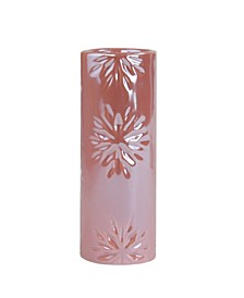 Tall Faux Pearl Snowflake Christmas Candle Holder