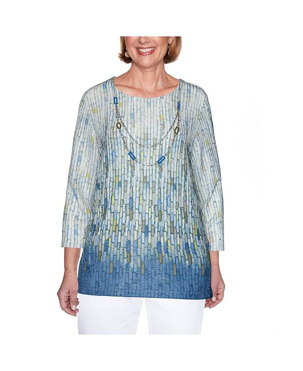 Alfred Dunner Women's Plus Size Shimmer Ombre Tile Print Top