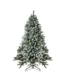 Pre-Lit Medium Flocked Winter Park Fir Artificial Christmas Tree