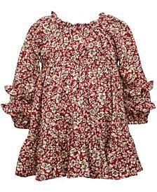 Baby Girls Long Sleeve Printed Challis Floral Dress