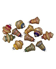 Striped-Finish Glass Christmas Finial and Bell Ornaments