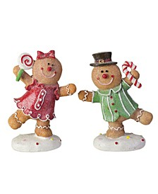 Glitter Dusted Boy and Girl Gingerbread Kids Table top Figures, Set of 2