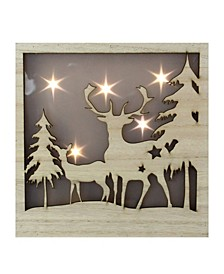 Two Deer and Trees Cut-out with LED Lighted Stars Christmas Wood Box