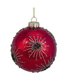 Beaded Snowflake Design Glass Ball Christmas Ornament