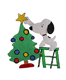 Pre-Lit Peanuts Snoopy Decorating Christmas Tree Outdoor Decor