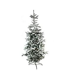 Pre-Lit Slim Noble Fir Flocked Artificial Christmas Tree