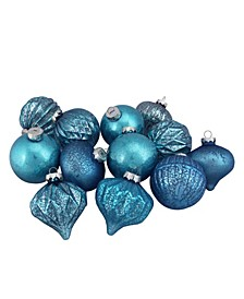 Teal Blue Contemporary-Finish Christmas Ornaments