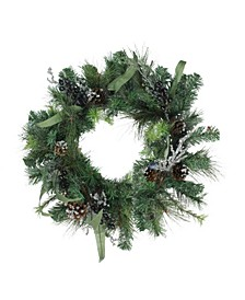 Unlit Mixed Pine with Blueberries Pine Cones and Ice Twigs Artificial Christmas Wreath
