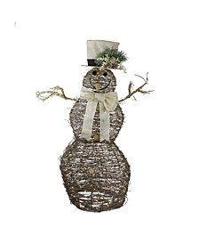 LED Lighted Rattan Snowman Outdoor Christmas Decoration