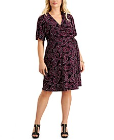 Plus Size Paisley Pop Faux-Wrap Dress