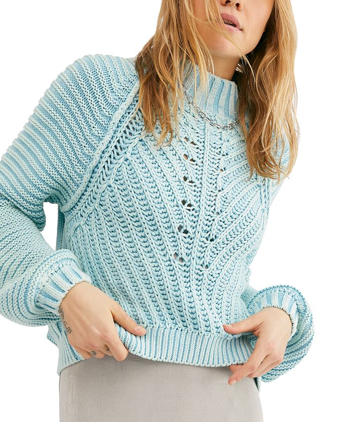 Free People - Sweetheart Cotton Mock-Neck Sweater