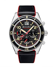 Men's Fleuss Chrono Black Genuine Leather Strap Watch 43mm