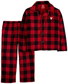 Toddler Boy or Girl 2-Pc. Buffalo-Check Reindeer Coat-Style Fleece Pajamas