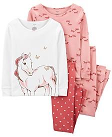 Big Girl  4-Piece Horse Snug Fit Cotton PJs
