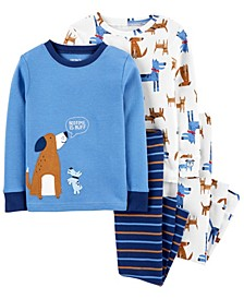 Toddler Boy 4-Piece Dogs Snug Fit Cotton PJs