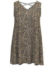 Plus Size Crossback Animal-Print Dress, Created for Macy's