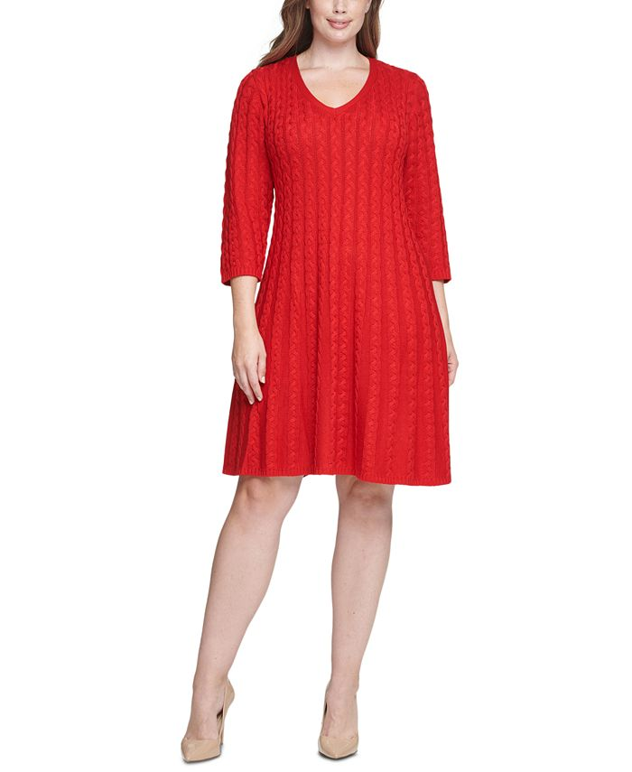 Jessica Howard - Plus Size Cable-Knit Fit & Flare Dress