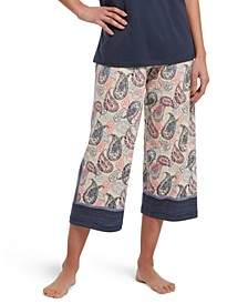 Printed Knit Capri Sleep Pants