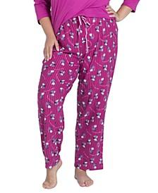 Plus Size Printed Butter-Knit Pajama Pants