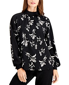 Floral-Print Mock-Neck Top, Created for Macy's