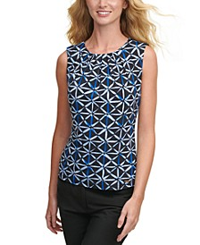 Printed Sleeveless Pleat-Neck Top