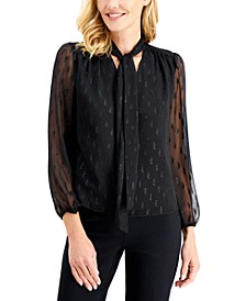 Printed Sheer-Sleeve Bow Top, Created for Macy's