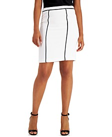 Petite Contrast-Piped Pencil Skirt