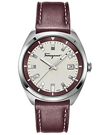 Men's Swiss Evolution Red Calf Leather Strap Watch 40mm