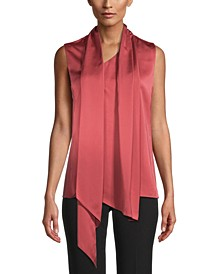 Draped-Neck Scarf Top
