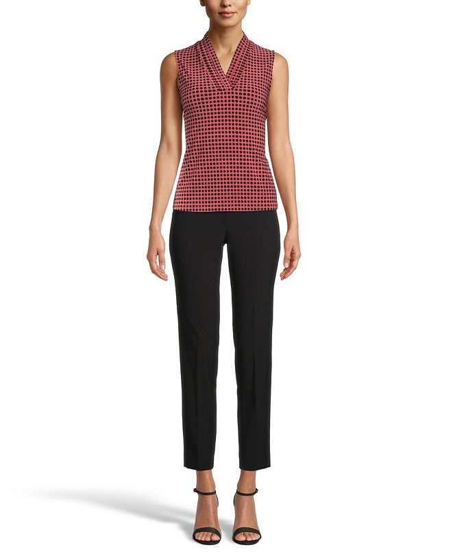 Anne Klein Dot-Print Pleated V-Neck Top