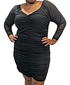 Trendy Plus Size Ruched Mesh Bodycon Dress