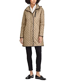 Faux Suede–Trim Quilted Coat, Created for Macy's