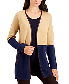 Milano Cotton Colorblocked Open-Front Cardigan, Created for Macy's