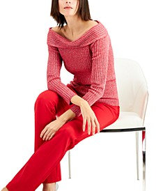 INC Ribbed Off-The-Shoulder Sweater, Created for Macy's