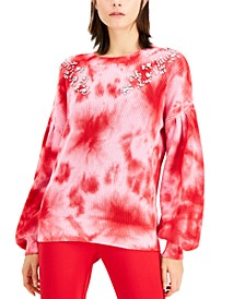 INC Tie-Dye Rhinestone Sweater, Created for Macy's