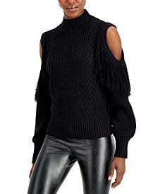 INC Cold-Shoulder Cable-Knit Sweater, Created for Macy's
