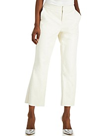 INC Faux-Leather Crop Flare Pants, Created for Macy's