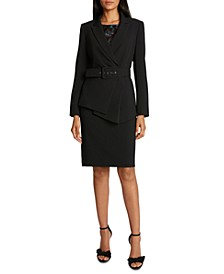 Asymmetrical Blazer, Flutter-Sleeve Top & Pencil Skirt