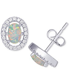 Simulated Opal & Cubic Zirconia Oval Stud Earrings in Sterling Silver