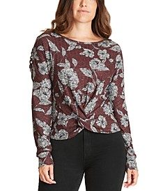 Juniors' Printed Twist-Front Lattice Top