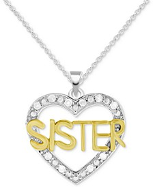 "Diamond Sister Heart 18"" Pendant Necklace (1/10 ct. t.w.) in Sterling Silver & Gold-Plate"