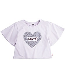Little Girls Sequin Logo Sparkle Knit T-Shirt