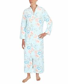 Plus Size Floral-Print Long Zipper Robe