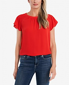 Pleated Flutter-Sleeve Blouse