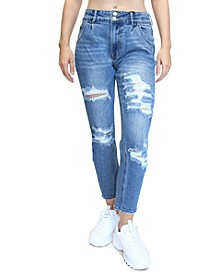 Juniors' Destructed Double Button High-Rise Mom Jeans