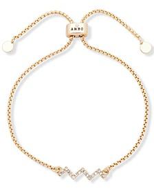 Gold-Tone Crystal Zigzag Bolo Bracelet