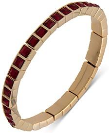 Gold-Tone Square Stone Stretch Bracelet