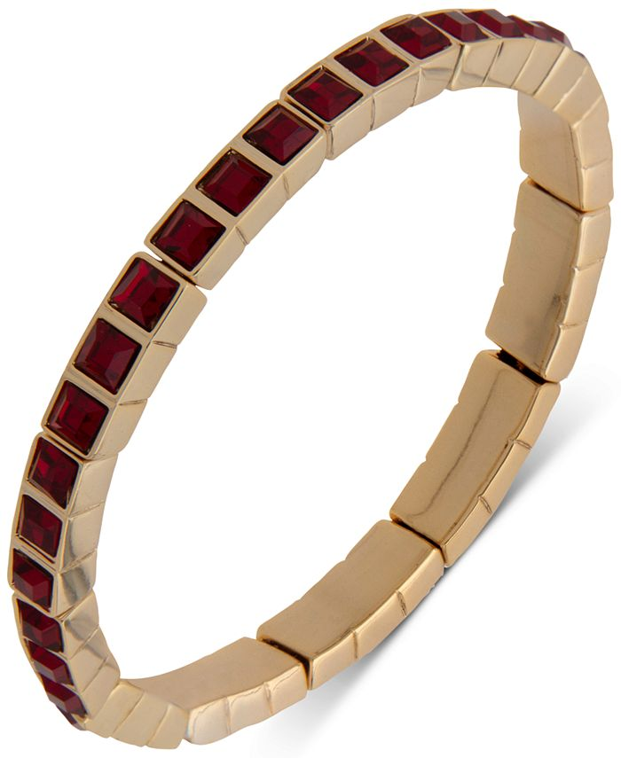 DKNY - Gold-Tone Square Stone Stretch Bracelet
