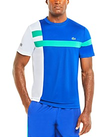 Men's SPORT Short Sleeve Crew Neck Performance Two-Tone Asymmetric Striped T-shirt